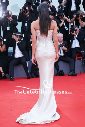 Sara Sampaio Strapless Sparkly Evening Formal Dress 2018 Venice Film Festival TCD8021