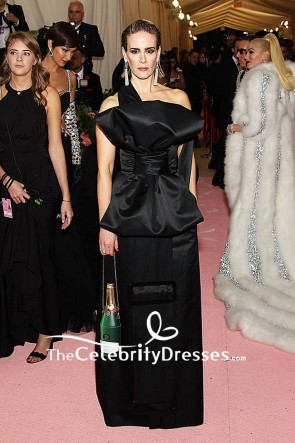 Sarah Paulson Black Column One Shoulder Dress 2019 Met Gala