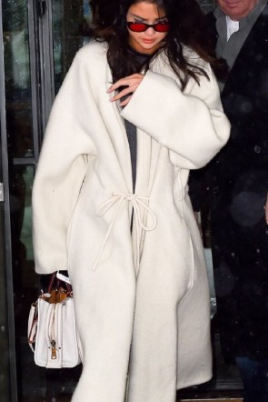 Selena Gomez White Woolen  Lace-up Coat