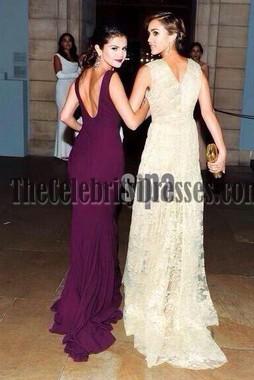 Selena Gomez セレナゴメスグレープウエディングドレスMET Gala 2014レッドカーペット