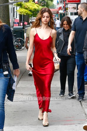 Selena Gomez Sexy Red Spaghtti Straps Celebrity Dress Out NYC 2016 4