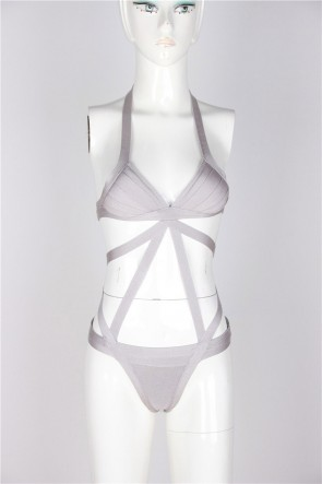 Gray Sexy Bandage Hollow Swimsuit Cheap Bikinis Inspired Celebrity
