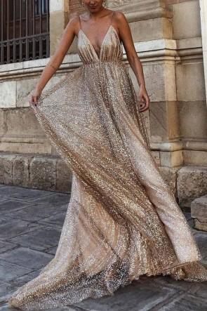Sexy Deep V-neck Champagne Sparkly Prom Dress