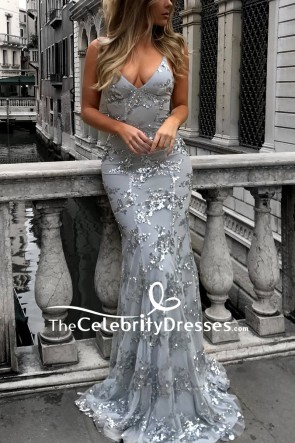 Sexy Grey Backless Mermaid Embroidered Long Prom Dress For Sale