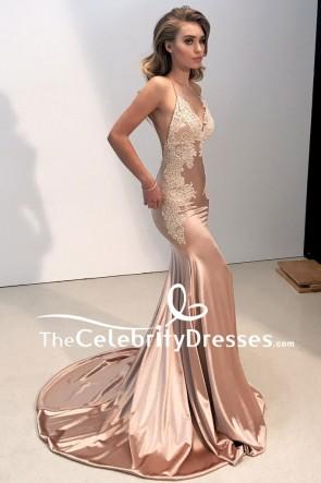 Sexy Mermaid Spaghetti Straps Applique Prom Dress