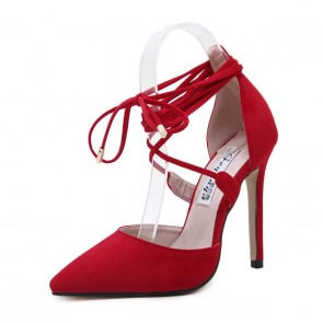 Sexy Red Suede Stiletto Heels Cross Straps Summer Shoes With Pointed Toe
