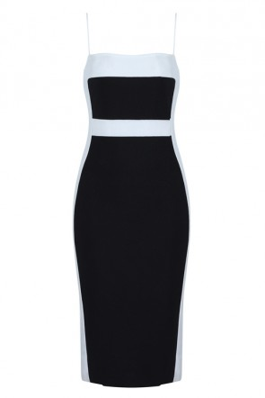 Sexy Two-tone Black And White Bandage Dress