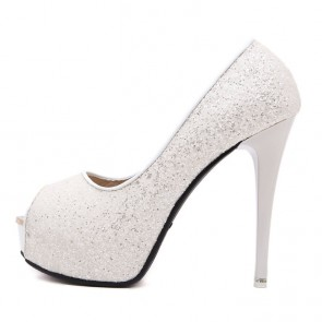 Sexy White Sequin Platform Club Heels Peep Toe Wedding Shoes