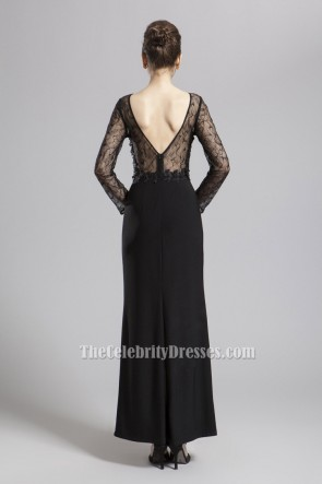 Sexy Black Long Sleeve Lace Prom Gown Evening Dresses TCDBF057
