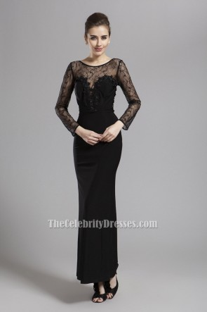 Sexy Black Long Sleeve Lace Prom Gown Evening Dresses