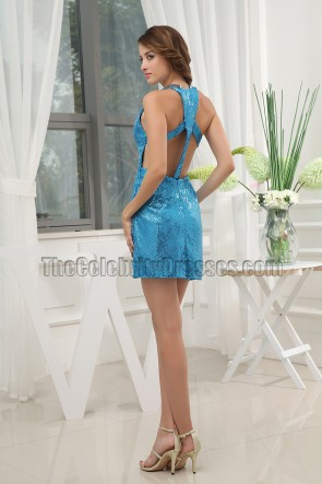 Sexy Blue Backless Sequins Party Homecoming Dresses
