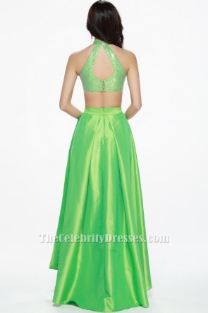 Sexy Bud Green Two Pieces Prom Gown Evening Dresses TCDBF080