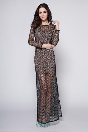 Sexy Full Length Black Long Sleeve Evening Party Dress