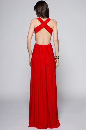 Sexy Full Length Red Backless Evening Dress