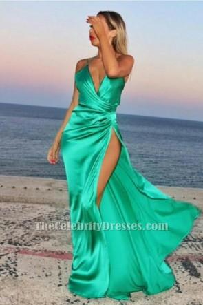 セクシーなグリーンVネックサイドスリットイブニングドレスウエディングドレス