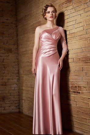 Sexy Pink One Sleeve Evening Dresses TCDC30853