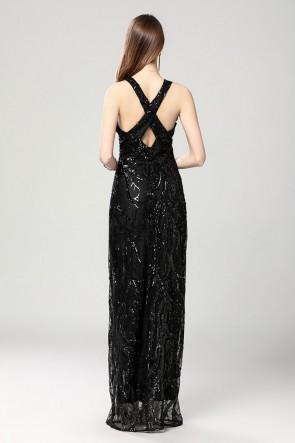 Sexy Plunging Neckline Sparkly Black Evening Dresses TCDBF2019