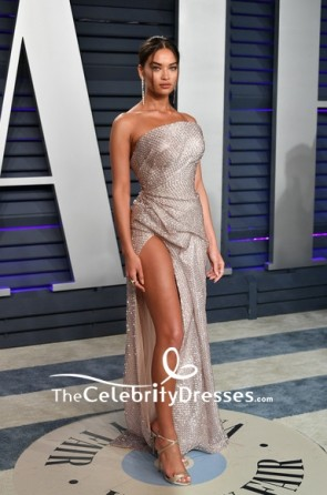 Shanina Shaik Sequined Strapless Thigh-high Slit Formal Dress 2019 Vanity Fair Oscar party