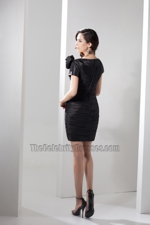 Sheath/Column Short Black V-Neck Party Homecoming Dress