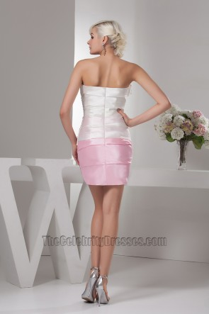 White And Pink Strapless Party Homecoming Dress With Flowers