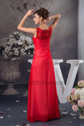 Sheath/Column Floor Length Red Prom Gown Evening Dresses