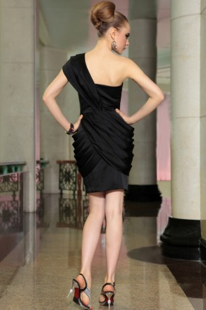 Sheath/Column Short Black One Shoulder Cocktail Party Dresses
