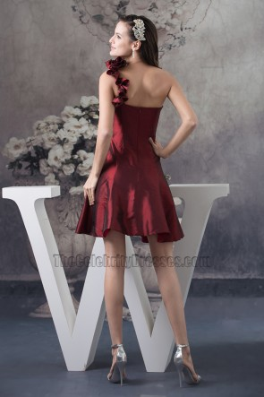 Short A-Line Burgundy One Shoulder Homecoming Party Dresses