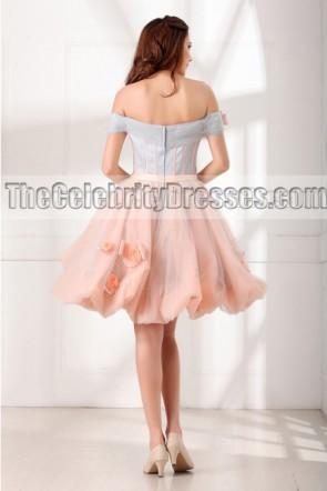 販売のための甘い16ドレスショートAラインオフショルダーカクテルパートドレス