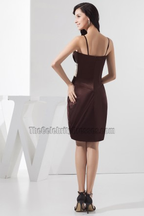Short Chocolate Spaghetti Strap Party Graduation Homecoming Dress