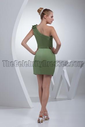 Short Green One Shoulder Party Graduation Dresses
