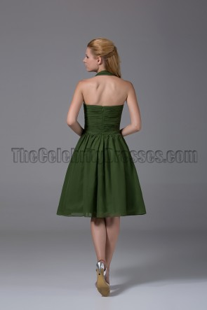 Cheap Short Halter Dark Green Bridesmaid Cocktail Dresses
