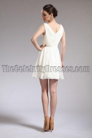 セレブ風アイボリーシフォンパーティーホームカミングドレス