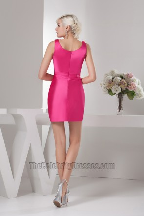 Short Mini Sleeveless Fuchsia Party Homecoming Dresses