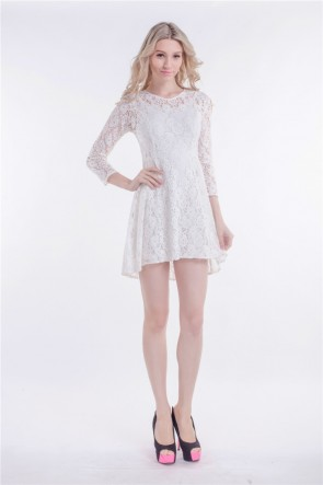 Short/Mini White Lace High Low Party Homecoming Dress