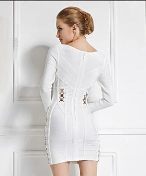 ショートミニホワイト長袖包帯パーティーカクテルドレス TCD5906