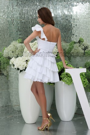 Short Mini White One Shoulder Ruffles Party Homecoming Dresses