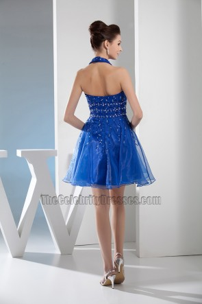 Short Royal Blue Halter Graduation Cocktail Party Dresses With Beading