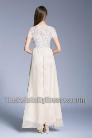 Short Sleeves A-line Formal Dress Long Lace Bridesmaid Dresses TCDBF5011
