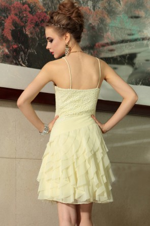 Short Spaghetti Straps Daffodil Party Homecoming Dresses