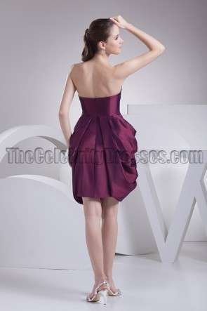 Short \ Mini Strapless Grape Party Homecoming Dresses