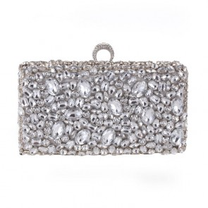Silver Beaded Evening Fashion Party Clutch