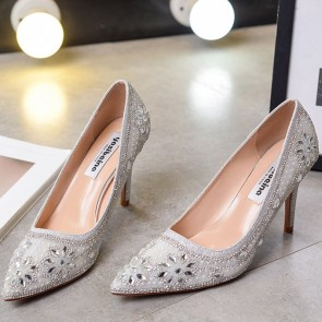 Silver Pointed Toe Wedding Shoes With Rhinestone Crystal