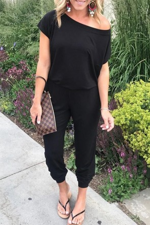 Simple Black Casual Jumpsuit
