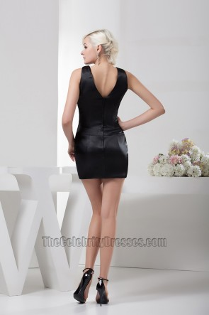 Simple Short Mini Black V-neck Party Homecoming Dresses