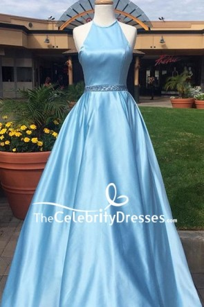 Sky Blue Halter Ball Gown For Prom
