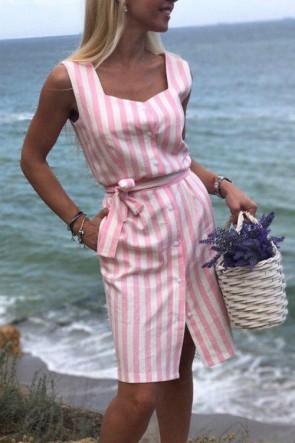 Casual Striped Sleeveless Sashes Dress