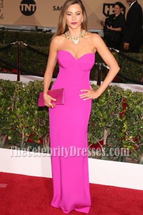 Sofia Vergara Fuchsia Strapless Slit Evening Prom Gown  2016 SAG Awards Red carpet dress