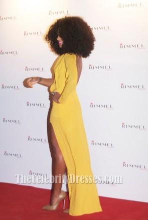 Solange Knowles ソランジュ・ノウルズ 黄色のイブニングドレスは、ケイトモスとの10年のパートナーシップを祝います