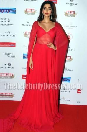 Sonam Kapoor Red Caped Evening Prom Gown Bollywood NRI of the Year Awards 1