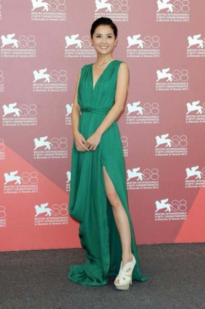 Charlene Choi Green Prom Evening Dress Venice Film Festival 2011